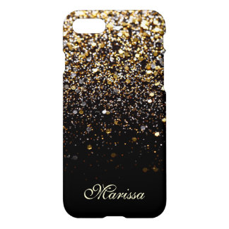 Einzigartiges GoldGlitter-Schwarz-stilvolles iPhone 7 Hülle