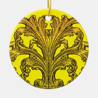 Einzigartiges Vintages Strudel Ombre Gold Rundes Keramik Ornament
