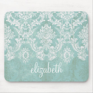 Eis-Blau-Vintages Damast-Muster mit Grungy Ende Mousepads