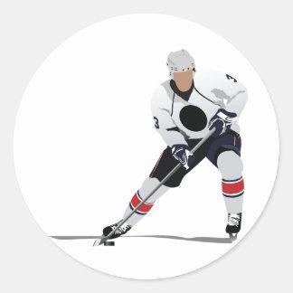 Eis-Hockey-Spieler-Aufkleber Runder Aufkleber