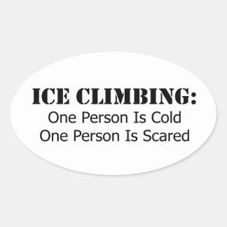 Eis-Klettern - Kälte, erschrocken Ovaler Aufkleber