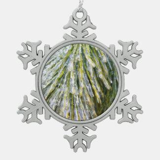 Eis-Überzogene Schneeflocken Zinn-Ornament