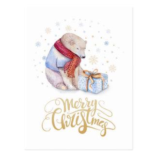 Eisbär-frohe Weihnachten Postkarte
