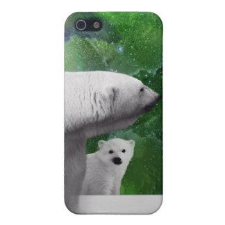 Eisbär, Junges und Nordlichtaurora iPhone 5 Etui