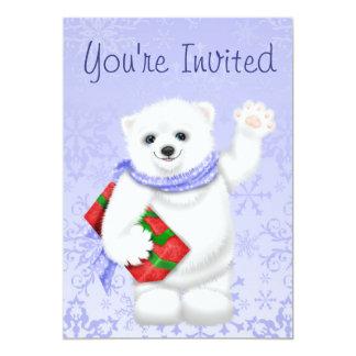 Eisbär-Winter-Geburtstags-Einladungen für Mädchen 12,7 X 17,8 Cm Einladungskarte