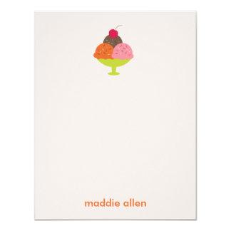 Eiscreme-Eiscremebecher danken Ihnen Karten (Rosa) 10,8 X 14 Cm Einladungskarte