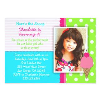Eiscreme-Geburtstags-Party Einladungen für Mädchen