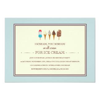 Eiscreme-Kindergeburtstag-Party Einladungen