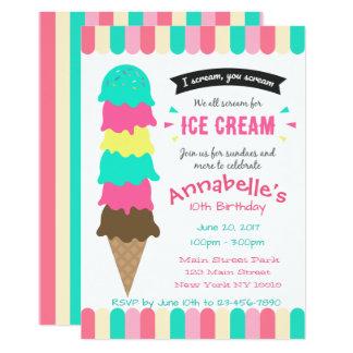 Eiscreme-Party Geburtstags-Einladung 12,7 X 17,8 Cm Einladungskarte