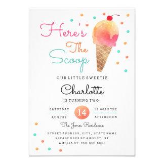 Eiscreme-Party-Kindergeburtstag-Party Einladung
