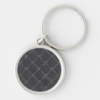 Eisen-Metalldiamantmuster Silberfarbener Runder Schlüsselanhänger