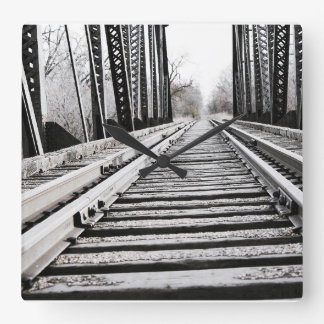 Eisenbahn Quadratische Wanduhr