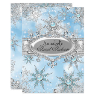 Eisige blaue Prinzessin Winter Wonderland Sweet 16 Karte