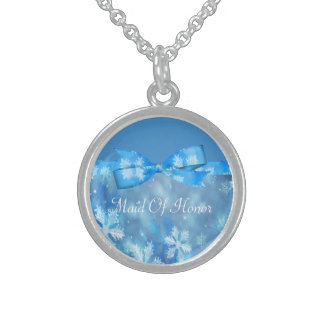 Eisige blaue Winter-Märchenland-Hochzeit Sterling Silberkette