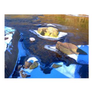 Eisiger felsiger Fluss Postkarte