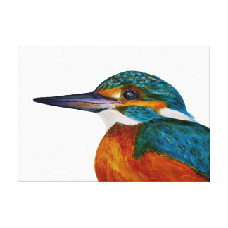 Eisvogel-Vogel-Wasserfarbe-Malerei-Grafik-Druck Galerie Gefaltete Leinwand
