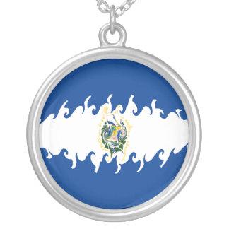 El Salvador Gnarly Flagge Halskette Mit Rundem Anhänger