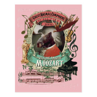 Elch-Tier-Komponist Wolfgang Amadeus Moozart Postkarte