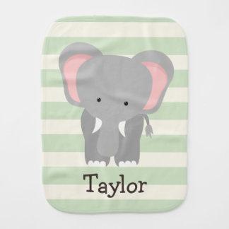Elefant auf grünen Pastellstreifen Baby Spucktuch