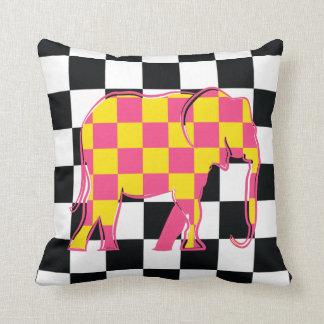 Elefant-Checkered rosa gelbe coole Silhouette Kissen