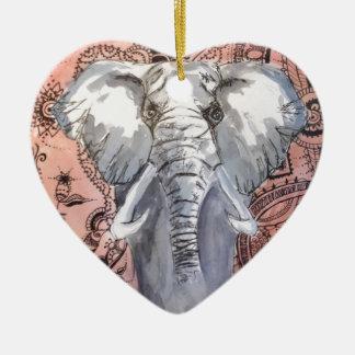 Elefant Keramik Herz-Ornament