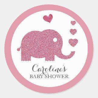 Elefant-Liebe-Rosa-Glitter-Baby-Duschen-Aufkleber Runder Aufkleber