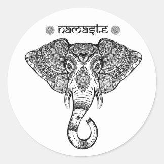 Elefant-Mandalaaufkleber Runder Aufkleber