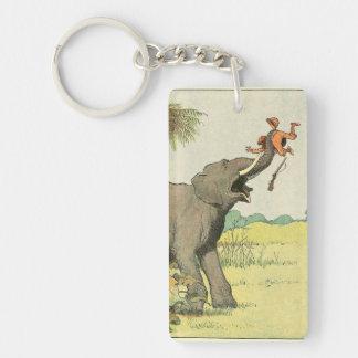 Elefant und Wilderer im Dschungel Schlüsselanhänger
