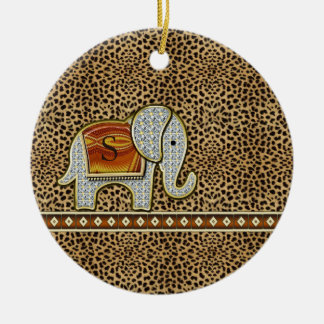 Elefant-Weg-Monogramm-Gepard ID390 Rundes Keramik Ornament