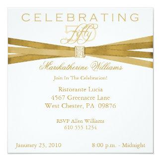 Elegante 50. fünfzigste Geburtstags-Party Quadratische 13,3 Cm Einladungskarte