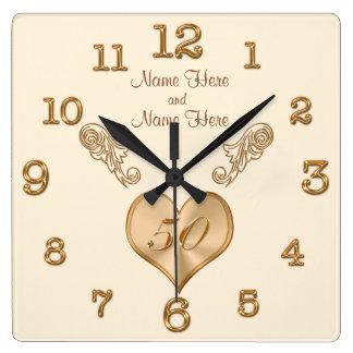 Elegante 50. Hochzeitstag-Uhr mit NAMEN Uhren