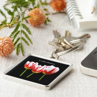 Elegante Ahornblatt-Tulpen Schlüsselanhänger