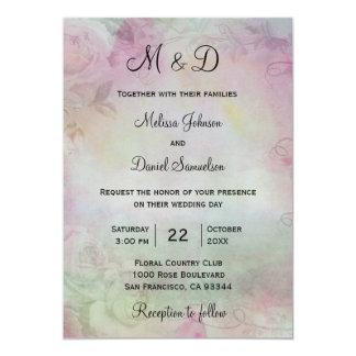 Elegante Aquarell-Rosa-Grün-Hochzeits-Einladungen Karte