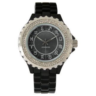 Elegante Astrologie-Zeichen - 12 Tierkreis-Symbole Armbanduhr