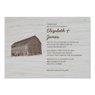 Elegante Bauernhof-Hochzeits-Einladungen 12,7 X 17,8 Cm Einladungskarte