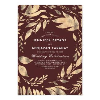 Elegante Blätter-Hochzeit im Herbst Burgunders und 12,7 X 17,8 Cm Einladungskarte