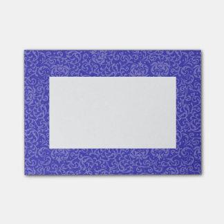 Elegante blaue lila Blumendamast-Künste und Post-it Klebezettel