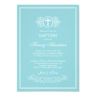 Elegante blaue Taufe-Einladung Karte