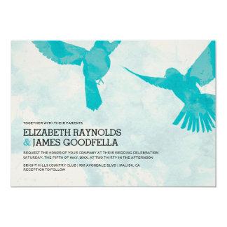 Elegante blaue Vogel-Hochzeits-Einladungen 12,7 X 17,8 Cm Einladungskarte