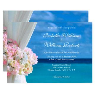 Elegante Blumenozean-Strand-Sommer-Hochzeit Karte