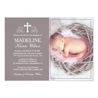 Elegante Brown-Taufe-Foto-Einladungs-Karte 12,7 X 17,8 Cm Einladungskarte