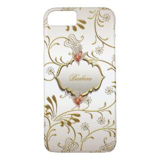 Elegante Damast-Karamell-Creme-beige Goldbernstein iPhone 8/7 Hülle