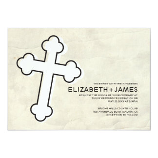 Elegante Eisen-Kreuz-Hochzeits-Einladungen 12,7 X 17,8 Cm Einladungskarte