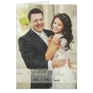 Elegante Elfenbein-Foto-Hochzeit danken Ihnen Grußkarte