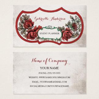 Elegante Ereignis-Planer-Vintage Rote Rose mit Visitenkarten