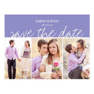 Elegante Foto-Save the Date lila Streifen-Postkart Postkarten