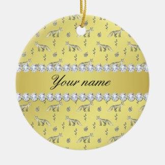 Elegante Fox-Imitat-Goldfolie Bling Diamanten Rundes Keramik Ornament