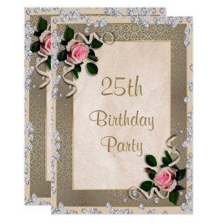 Elegante gerahmte rosa Rosen-25. Geburtstag 12,7 X 17,8 Cm Einladungskarte