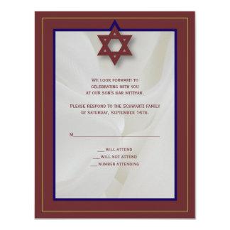 Elegante Gewebe-Bar Mitzvah Antwort-Karte in 10,8 X 14 Cm Einladungskarte