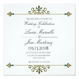Elegante GoldgrenzKalligraphie-Hochzeits-Einladung Quadratische 13,3 Cm Einladungskarte